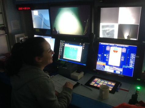 NUI Galway Marine Science undergraduate Morag Taite in the ROV control shack on board RV Celtic Explorer.