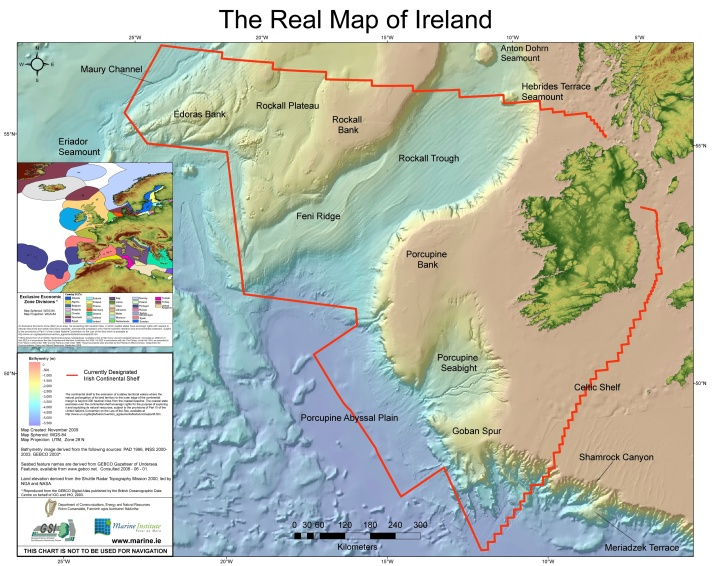 The Real Map of Ireland: Image courtesy Marine Institute