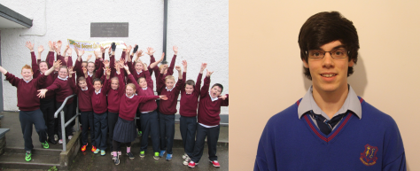ReelLIFE SCIENCE 2014 Winners. Fifth and Sixth class students from Sooey NS, Co. Sligo on learning they won first prize (left). Julien Torrades, Leaving Certificate student in Summerhill College, Sligo (right).