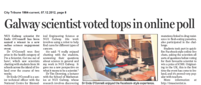 Galway scientist voted tops in online poll - City Tribune, December 7th 2012
