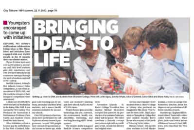 Bringing Ideas to Life - City Tribune, November 22nd 2013