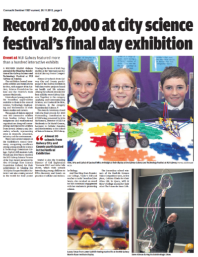 Record 20,000 at city science festival's final day exhibition - Connacht Sentinel, November 26th 2013