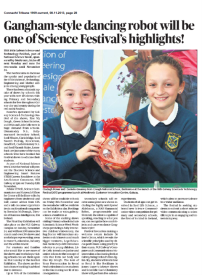 Gangnam-style dancing robot will be one of Science Festival's highlights - Connacht Tribune, November 8th 2013