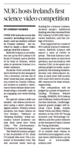 NUIG hosts Ireland's first science video competition - Connacht Tribune, October 18th 2013