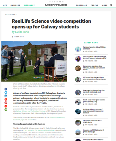 ReelLife Science video competition opens up for Galway students - Silicon Republic, Sept 11th 2013