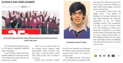 Schools win video awards - The Sligo Champion