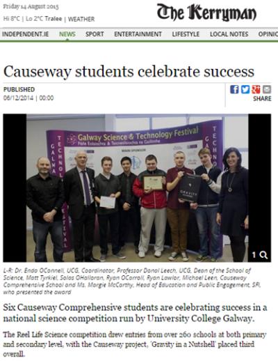 Causeway students celebrate success - The Kerryman, Dec 6th 2014