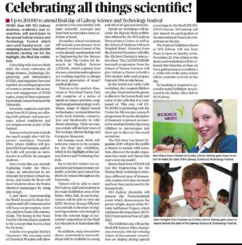 Celebrating all things scientific! - Connacht Tribune, Nov 13th 2015