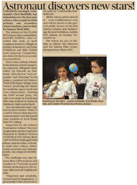 Astronaut Discovers New Stars - Connacht Tribune, Nov 13th 2015