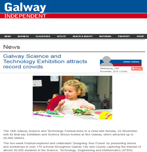 Galway Science and Technology Exhibition attracts record crowds - Galway Independent, Nov 25th 2015
