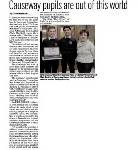 Causeway pupils are out of this world - Kerryman, Nov 11th 2015