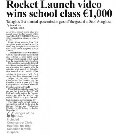 Rocket Launch Video wins school class €1,000 - Tallaght Echo, Nov 12th 2015
