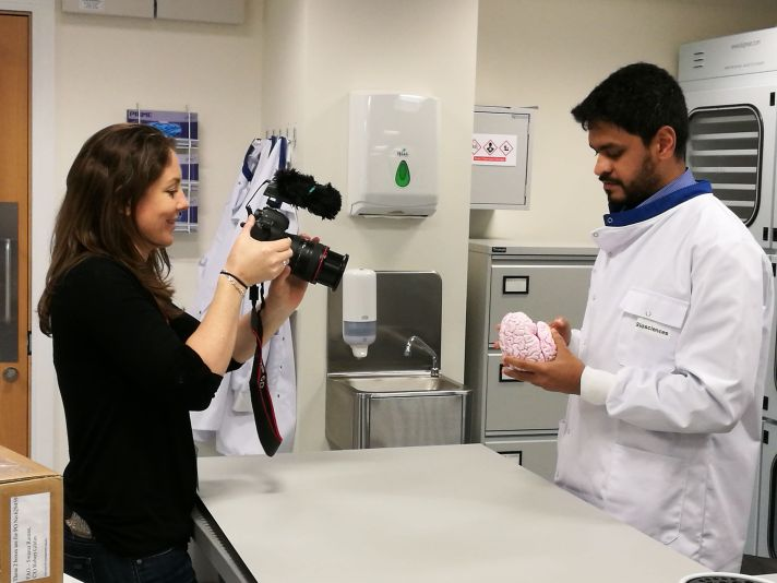 CURAM PhD candidate Dilip Thomas demonstrates the structures of the Human Brain (photo credit Enda O'Connell)