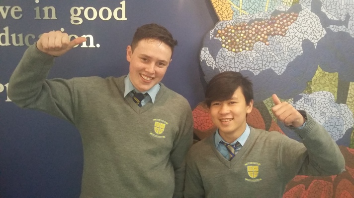 Colm Lonergan and John Ubaldo (l-r) from Patrician High School (photo courtesy Maeve Reynolds)