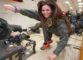 Amber Gell experiencing weightlessness in a zero-gravity environment. Photograph: James Blair.