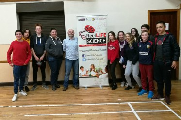 Corofin Foróige team members with ReelLIFE SCIENCE Director Dr. Enda O'Connell